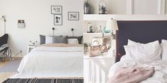 decoração bedroom details, decoration, bed, cama, pillows, travesseiros, flowers, flores, light, luz, shelf, estante, frames, quadros, confy, confortavel, details, detalhes