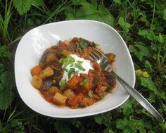 Bhaji mit Aubergine, Zucchini, Karotten und Kartoffeln - South-Indian bhaji with mixed vegetables