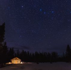 stars over snow survey cabin, in snowy range mountains, Medicine Bow National Forest, Wyoming. - See more on the blog!