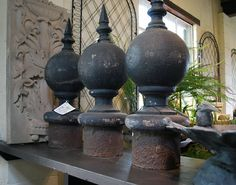 Antique French Cast Iron Ball Finials |