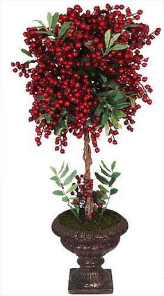"how to make christmas topiary trees | Chic 28"" Vibrant Red Holiday Berry Potted Christmas Topiary Ball Tree"