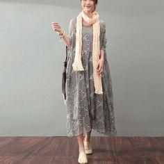 Lacing Women Silk Loose Casual Gray Dress