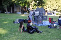 Domina Carmen Moriarty and Steffy the Rubberdoll getting ready for a movie in the park.