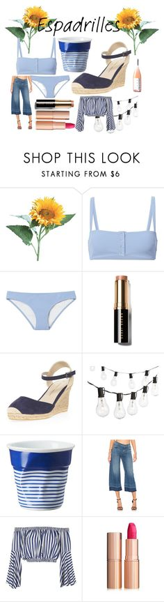 """""""Espadrilles: French Style"""" by paigebenlaala ❤ liked on Polyvore featuring Solid & Striped, Bobbi Brown Cosmetics, Dorothy Perkins, Crate and Barrel, Revol, J Brand, Love and Charlotte Tilbury"""
