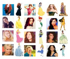 """celebrities as princesses"" by chicago-blackhawks ❤ liked on Polyvore featuring Devlin, Naya, Disney, Merida, leighton meester, naya rivera, karen gillian, disney, emma stone and amanda seyfried"