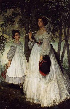 James Tissot, Het twee zussen portret, 1863, olieverf op doek, 210 x 136 cm, Musée d'Orsay, Parijs