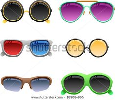 vector colorful sunglasses set 2 - Separate layers for easy editing - stock vector