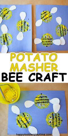 Potato Masher Bee Craft – HAPPY TODDLER PLAYTIME