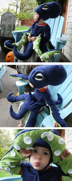 Under The Sea Costumes for Halloween Diy Halloween Costumes For Kids, Theme Halloween, Diy Costumes, Halloween 2017, Costume Ideas, Fish Costume, Baby Octopus Costume, Squid Costume, Under The Sea Costumes