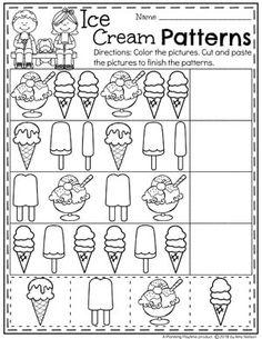 Ice Cream Theme Preschool Patterns Worksheet. #patternsworksheets #preschoolworksheets #icecreamworksheets #summerworksheets #planningplaytime