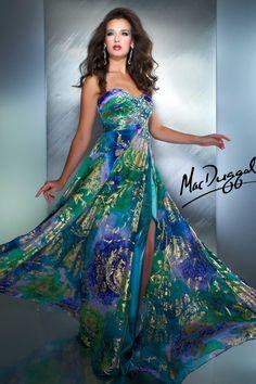 Peacock Floral Print Prom Dress - 50017M   Mac Duggal