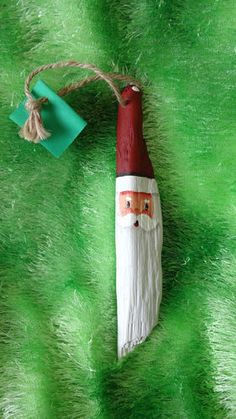 Wonderful Hand Painted Driftwood Santa Ornament Christmas Xmas Gift Folk Art | eBay