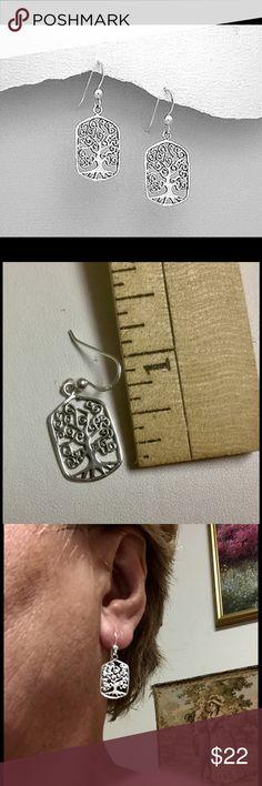 """Tree Of Live Sterling Silver Earrings Tree Of Live 925 Sterling Silver drop Earrings. Approx 1.5"""" Height and 1/2"""" width. Jewelry Earrings"""