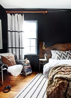 Dark walls. See more images from teen boy's bedroom reveal on domino.com