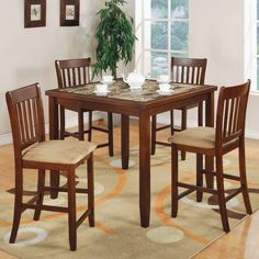 Coaster 5 Pc Counter Height Set in Cherry