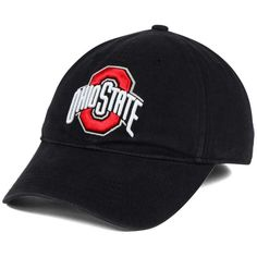 J America Ohio State Buckeyes Playmaker Fitted Cap ($22) ❤ liked on Polyvore featuring men's fashion, men's accessories, men's hats, black, mens caps and hats and mens fitted hats