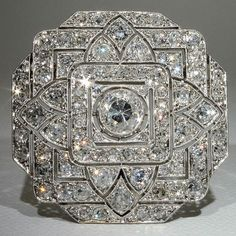 Spectacular Platinum Art Deco 6+ carat Diamond Pin & Pendant, France ca. 1910s