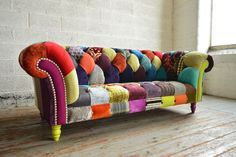 PATCHWORK SOFA MODERN HANDMADE CHESTERFIELD SOFA COUCH CHAIR BESPOKE BUTTONED