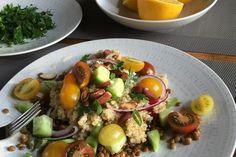Augustus recept: Bulgur salade met linzen en citroen-tahin dressing