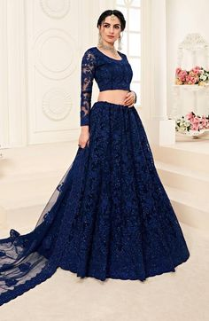 Indian Bridesmaid Dresses, Desi Wedding Dresses, Indian Gowns Dresses, Navy Blue Bridesmaids, Wedding Wear, Party Wear Lehenga, Bridal Lehenga Choli, Net Lehenga, Dress Indian Style