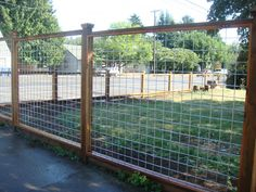 This is a nice contemporary style of fence incorporating heavy duty galvanized steel wire, pressure treated posts and rails, and cedar casing and post caps. It is becoming a popular fence in Portla…