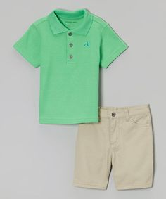 Another great find on #zulily! Mint Motorcycle Polo & Khaki Shorts - Infant, Toddler & Boys #zulilyfinds