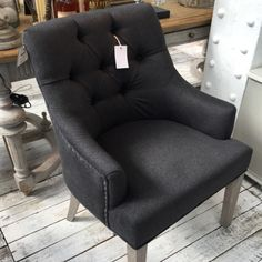 Charcoal Padded Wing Dining Chair – Allissias Attic & Vintage French Style