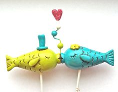 YOU CHOOSE color CLOSED eye Kissing Fish wedding cake topper for your beach wedding as seen in Real Maine Weddings magazine