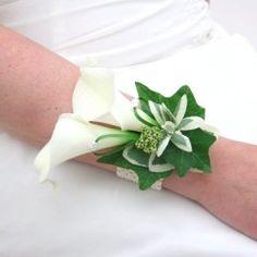 White Calla Lily Rose Wrist Corsage