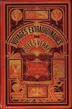 Couverture Voyages Extraordinaires par Jules Verne. Aventures du Capitaine Hatteras au pôle nord. Editions Hetzel.