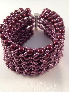 Classic Beaded Cuff Bracelet Rich Burgundy by XxxWithyouinmindxxX, £16.00