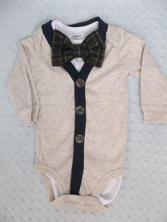 Baby Boy Cardigan Plaid  Bowtie Onesie   6 Months READY to  SHIP