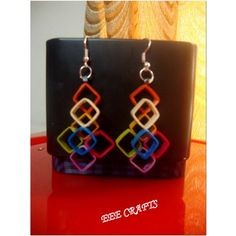 Quilled 3d multicolor  earrings -Jewellery-EEE Crafts Lseries