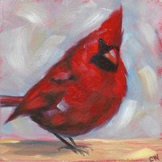 Red Cardinal Bird Painting Original Oil on 5x5 inch Panel by GalleryMusings, $47.00 USD