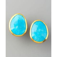 Gurhan Turquoise Stud Earrings ($695) ❤ liked on Polyvore