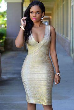 d1809e5c6d1 Gold Green Foil Print Sleeveless Bodycon Bandage Dress. Body LingerieEvening  DressesSexy ...