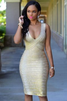 Gold Green Foil Print Sleeveless Bodycon Bandage Dress #bandage-dress #bodycon #bodycon-dress #bandagedress #party-dress