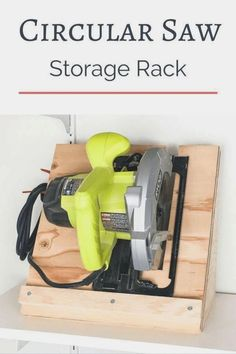 Woodworking Circular Saw Keep your circular saw stored upright and ready to go! This circular saw storage rack is quick and easy to make with scrap plywood. Woodworking Kits, Learn Woodworking, Woodworking Techniques, Easy Woodworking Projects, Popular Woodworking, Woodworking Furniture, Woodworking Workshop, Woodworking Workbench, Wood Furniture