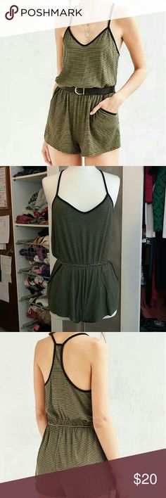 Army green/black striped romper - Silence + Noise Soft material, perfect thickness, purchased from Urban outfitters in 2016. Never worn, but no tags. Urban Outfitters Dresses