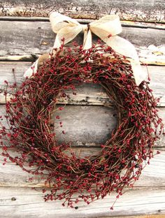 Primitive Country Wreath-Christmas Wreath-Rustic Farmhouse Decor-CRANBERRY RED Wresth-Scented Wreaths-Door Decor- Holiday Decor-Gift Summer Door Wreath-Rustic Primitive by WildRidgeDesign on Etsy Primitive Christmas, Country Christmas, Christmas Wreaths, Christmas Crafts, Christmas Holidays, Christmas Decorations, Holiday Decor, Cabin Christmas, Simple Christmas