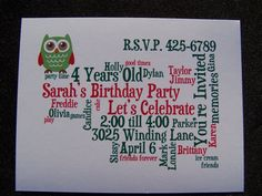 Little Girl's Owl Birthday Party Invitation by GinaMarieOriginals, $18.00
