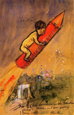 william james glackens(1870–1938), ira on a rocket, 1907. watercolor  and pencil on board, 30.48 x 20.32 cm. museum of art, fort lauderdale, usa http://www.the-athenaeum.org/art/detail.php?ID=48840