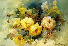 Franz A. Bischoff (1864-1929) USA, Roses 1901 watercolour