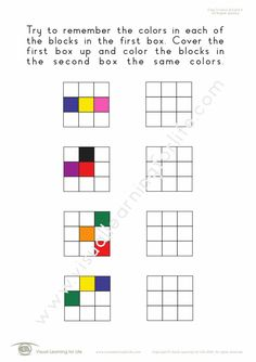 """In the """"Copy 3 Colours/Colors 3x3 Grid"""" worksheets, the student must copy the colours/colors to the open box from memory. Learning For Life, Visual Learning, Figure Ground Perception, Visual Memory, Try To Remember, Worksheets, Grid, Positivity, Colours"""