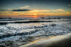 Sunrise over the Atlantic, from Indian Harbour Beach, Florida.