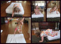 """""""Our crib mattress is one of our favorite therapy type items. We use it to jump and bounce on. We also stack it to make climbing inclines."""""""