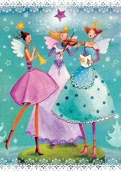 (German) Chrismas card by Mila Marquis. Illustration Noel, Illustrations, Decoupage, Art Carte, Whimsical Art, Folk Art, Cute Pictures, Fairy Tales, Angeles