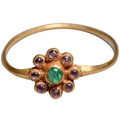 Jacobean Gold, Sapphire and Emerald Cluster Ring - 1620 AD | See more rare vintage Cluster Rings at http://www.1stdibs.com/jewelry/rings/cluster-rings