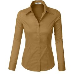LE3NO Womens Tailored Long Sleeve Button Down Shirt with Stretch ($12) ❤ liked on Polyvore featuring tops, button-down shirt, brown shirts, brown tops, brown long sleeve shirt and long sleeve button up shirts