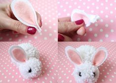 I am so excited to share this Cuddly Pom Pom Easter Bunny Tutorial with you! This adorable bunny is so easy to make, and super cuddly too! Bunny Crafts, Easter Crafts For Kids, Easter Ideas, Diy For Kids, Spring Crafts, Holiday Crafts, Pom Pom Animals, Easter Bunny Decorations, Easter Wreaths